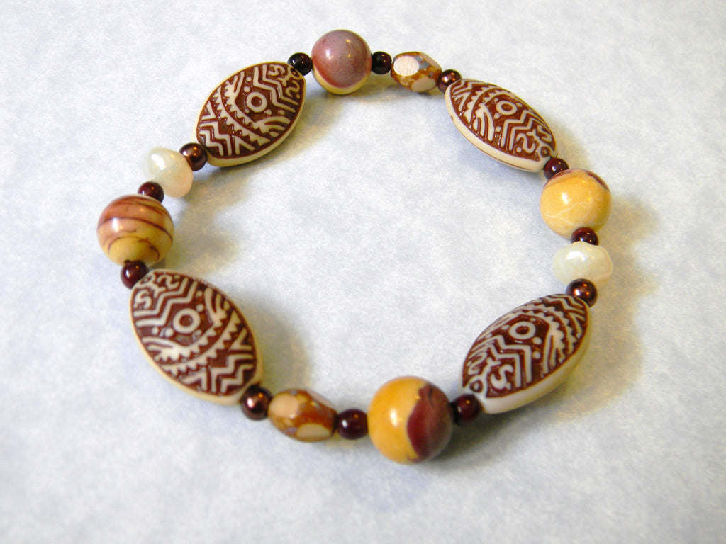 Beige and Brown Pressed Acrylic, Moukaite and Glass Bead Stretch Bracelet