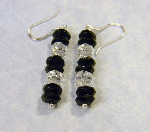 Onyx and Crystal Drop Earrings