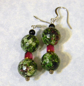 Ruby Zoisite, Onyx and Cathedral Bead Drop Earrings