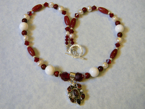 Red and White Gemstone and Crystal Necklace with Garnet, Pearl, Red Agate and Silver Pendant