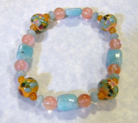 Coral, Peach and Turquoise Art Glass Lampwork Bead and Gemstone Stretch Bracelet