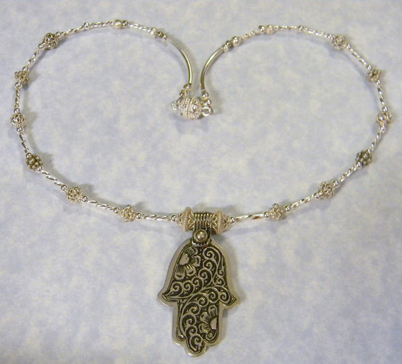 Moroccan Berber Silver Floral Hamsa Pendant and Necklace