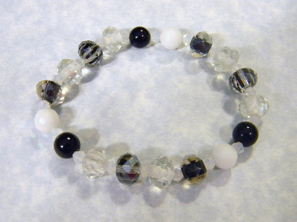 Black, White, Gray & Clear, Faceted Glass, Furnace Bead, Crystal & Quartz Stretch Bracelet