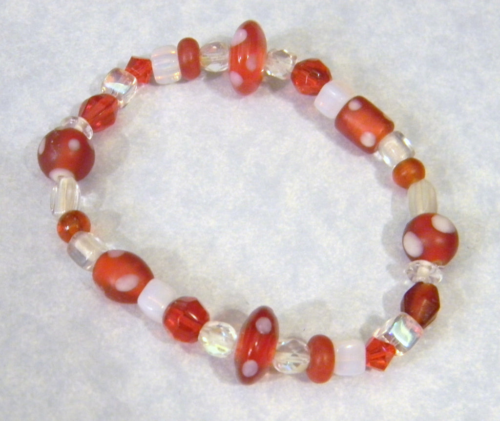 Red and White Glass and Acrylic Bead Stretch Bracelet