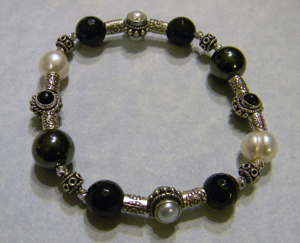 Onyx, Hematite, Freshwater Pearl and Bali Silver Bead Stretch Bracelet