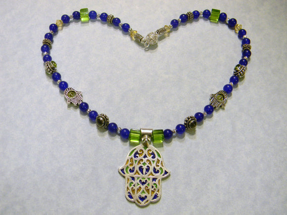 Tuareg Berber Enamel Hamsa Pedant and Blue, Green and Yellow Gemstone Necklace
