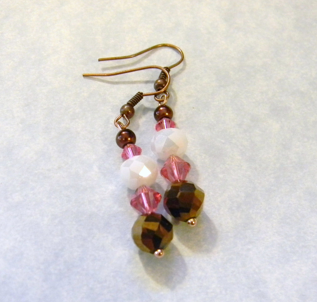 Bronze, White and Pink Faceted Glass and Crystal Drop Earrings