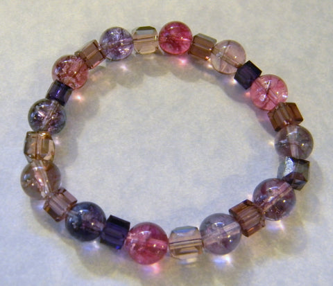 Pink and Purple Cracked Crystal Quartz and Crystal Stretch Bracelet
