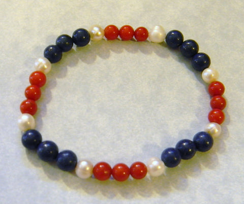 Red,White and Blue Opaque Gemstone Stretch Bracelet