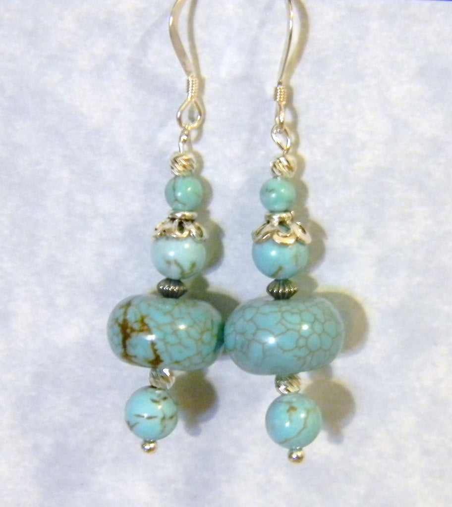 Multishaped Turquoise and Silver Drop Earrings