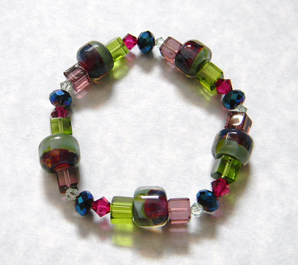 Sage Green, Blue, Pink and Purple Boro Art Glass Bead,Crystal and Faceted Glass Stretch Bracelet