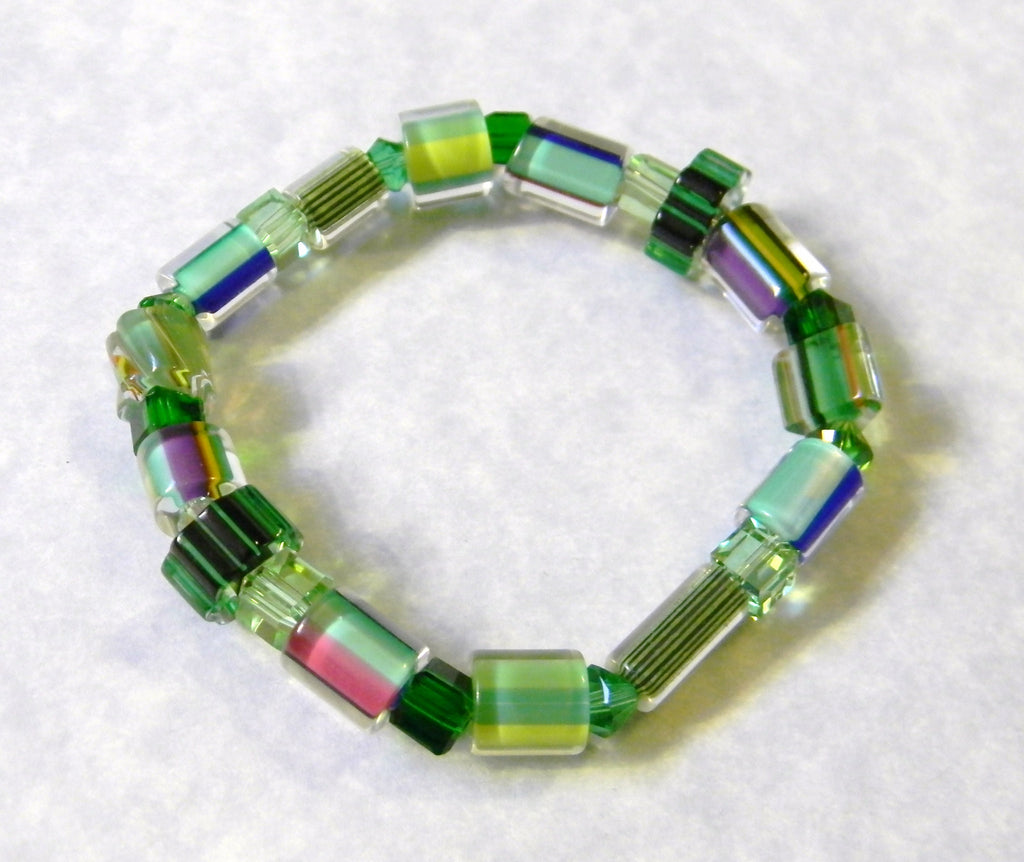 Shades of Green Furnace Cane Bead and Crystal Stretch Bracelet