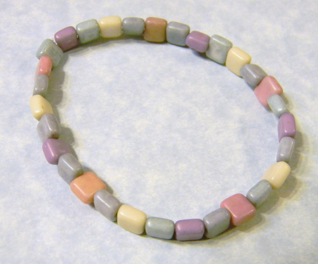 Pastel Square Matte Glass Stretch Bracelet