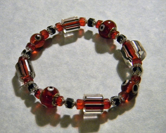 Black, Red and White Furnace Cane Bead, Evil Eye and Cathedral Bead Stretch Bracelet