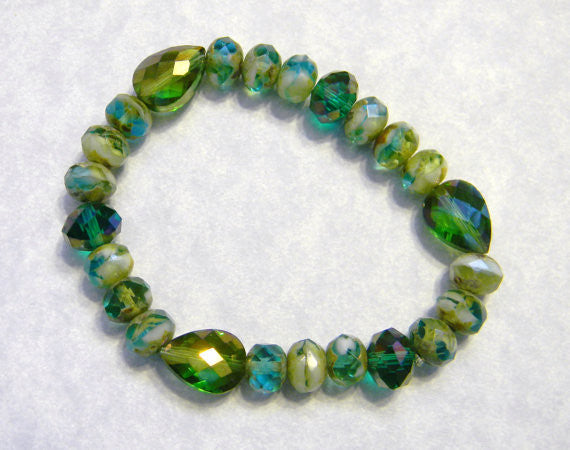 Green and Teal Givre Bead Stretch Bracelet with Crystals