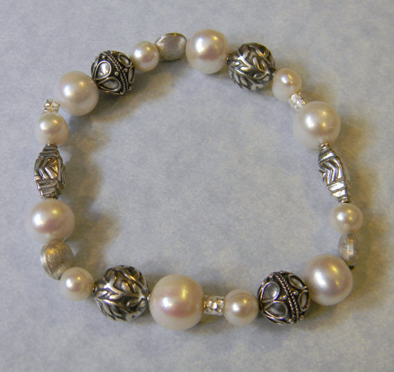 Freshwater Pearl, Bali Silver and Sterling Stretch Bracelet