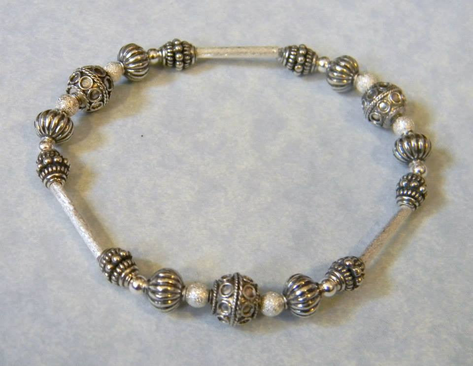 Bali Silver and Sterling Stretch Bracelet with Brushed Silver Tubes