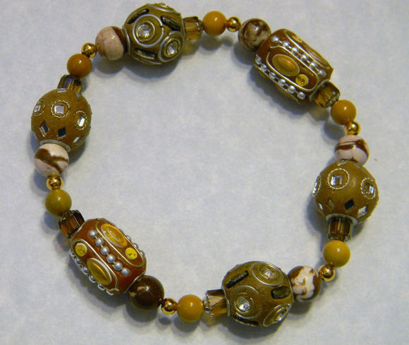 Shades of Beige, Rust and Tan Kashmiri Lac Bead and Gemstone Stretch Bracelet