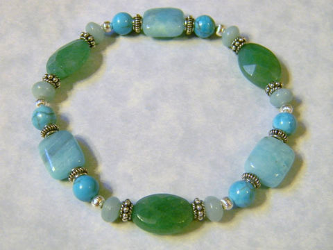 Amazonite, Turquoise and Silver Stretch Bracelet