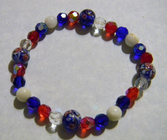 Red, White and Blue Glass, Gemstone and Enamel Stretch Bracelet