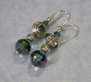 Apatite, Sterling, Teal Crystal and Faceted Glass Drop Earrings