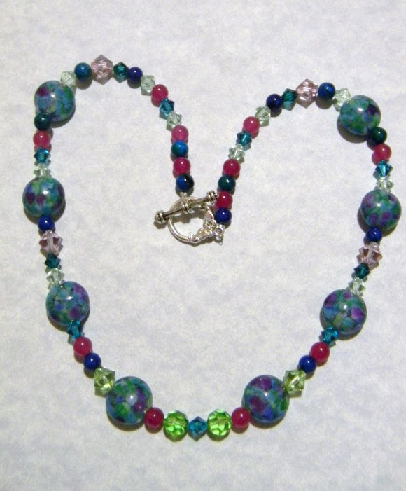Art Glass Bead, Crystal and Gemstone Necklace in Shades of Blue, Green and Purple.