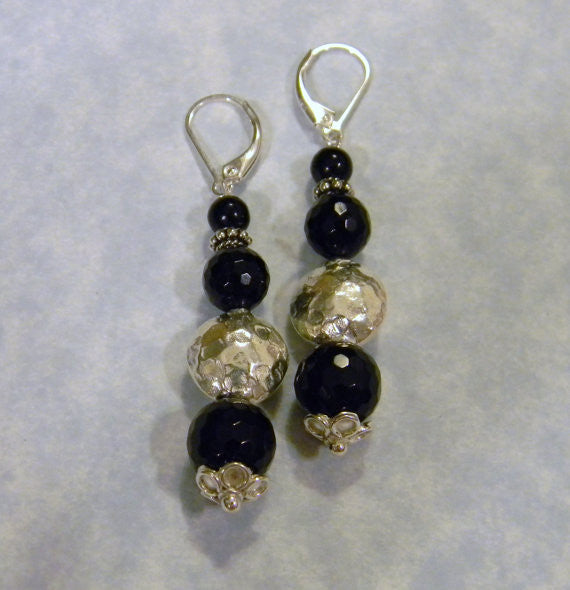 Onyx and Thai Karen Silver Drop Earrings