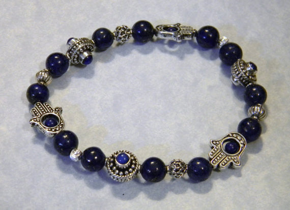 Lapis and Bali Silver Hamsa Bead Frame Stretch Bracelet