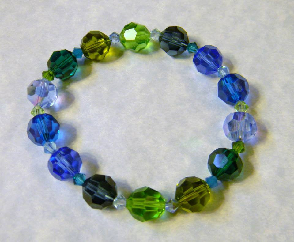 Shades of Blue and Green Crystal Stretch Bracelet