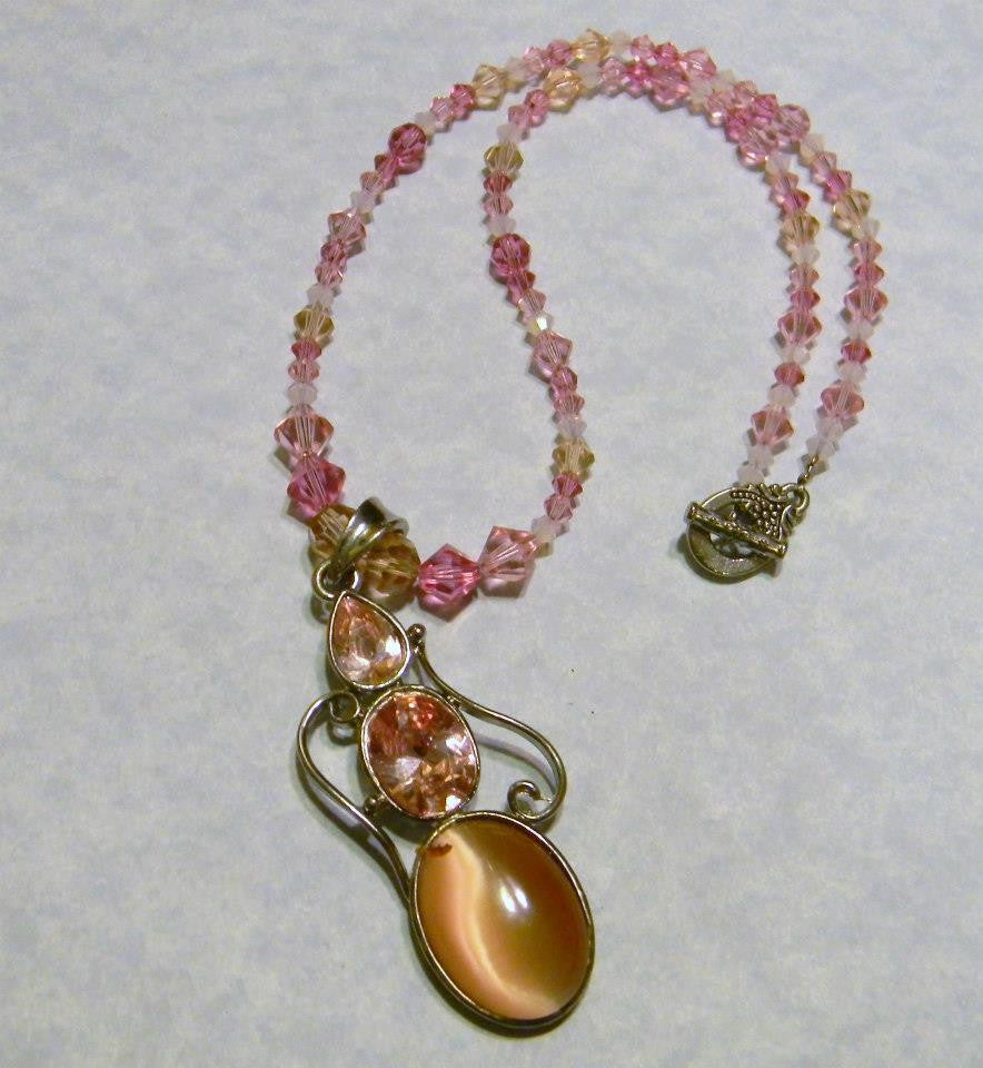 Shades of Pink Gemstone Pendant and Crystal Necklace
