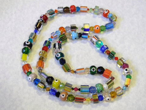 Multicolor Rainbow Evil Eye Bead, Crystal & Furnace Cane Bead Necklace