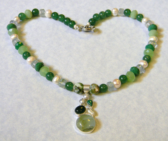 Shades of Green Gemstone, Glass and Pearl Pendant Necklace