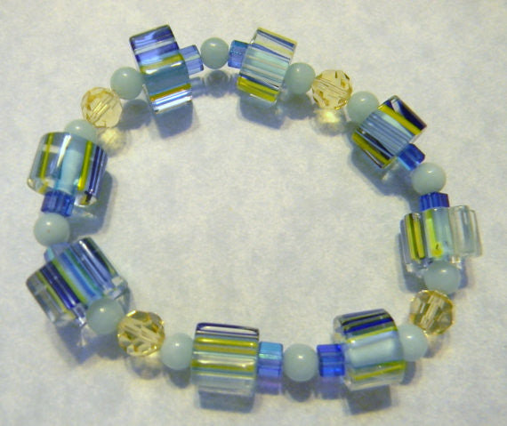 Crystal, Gemstone and Furnace Bead Stretch Bracelet