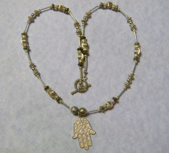 Oxidized Sterling Silver Hamsa on Necklace of Various Silver Beads and Tubes