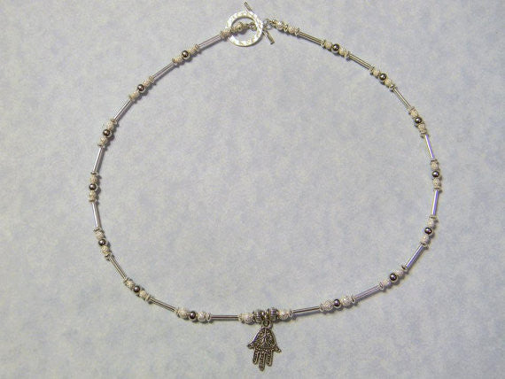 Small Silver Hamsa on Necklace of Silver Tubes and Beads