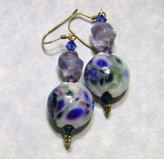 White, Lavender, Green & Purple Art Glass, Crystal, Twisted Nuggets & Faceted Glass Earrings