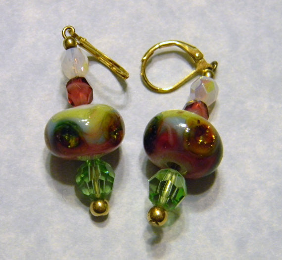 Art Glass Earrings with Crystals and Faceted Glass and Gold Beads