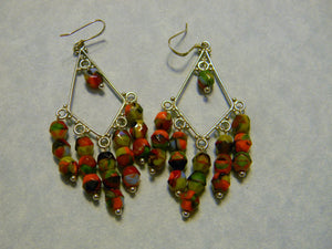 Brightly Colored Marbleized Glass Bead Chandelier Earrings