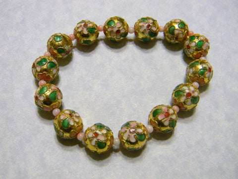 Gold Cloisonné and Pink Coral Bead Stretch Bracelet