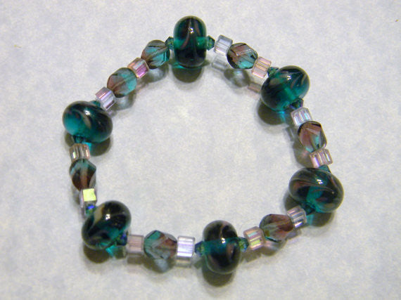 Teal and Purple Art Glass Bead Stretch Bracelet with Crystals and Two Tone Twisted Glass Beads