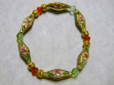 Stretch Bracelet with Gold Marquise Cloisonné Beads, Crystals and Gold Beads