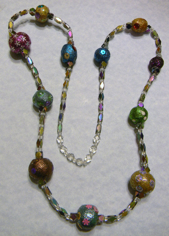 Long Necklace of Multicolored Tibetan Lac Beads with Vitrail Glass