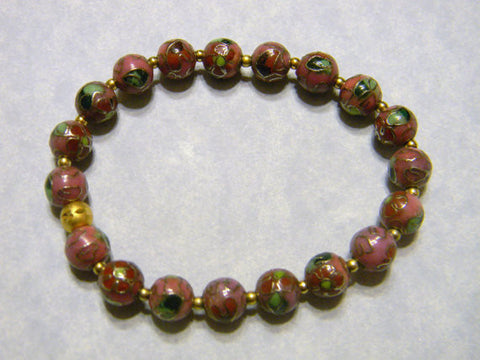 Stretch Bracelet with Mauve, Green and Gold Cloisonné Beads and Gold Beads