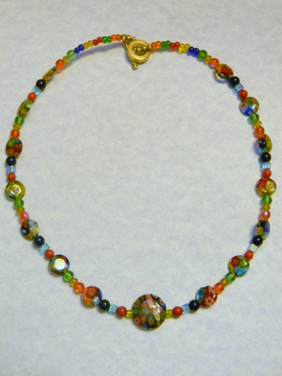 Multicolor Millefiori, Gemstone and Glass Bead Necklace