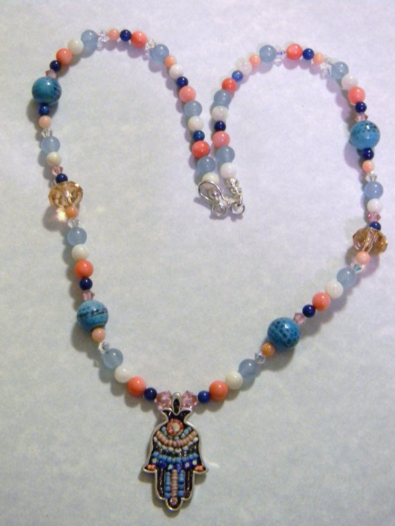 Shades of Blue and Coral Crystal and Seed Beads Hamsa on Multi-Gemstone Necklace