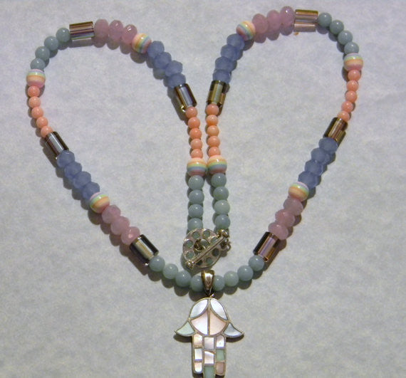 Pastel Inlay Mother of Pearl Hamsa Pendant on Gemstone, Furnace, Glass & Acrylic Bead Necklace