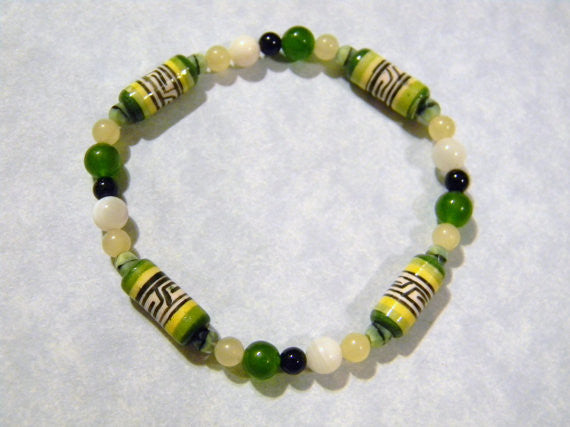Peruvian Ceramic Bead and Gemstone Stretch Bracelet