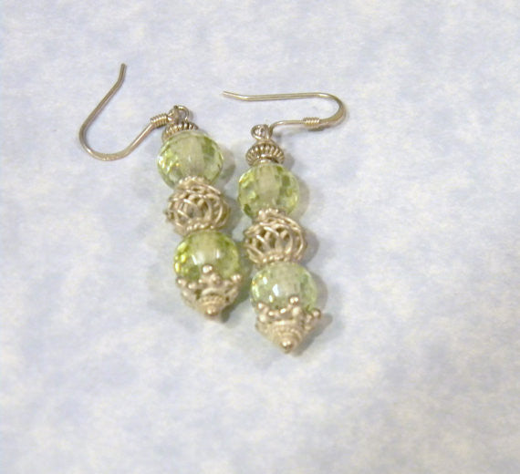 Green Faceted CZ and Bali Silver Earrings