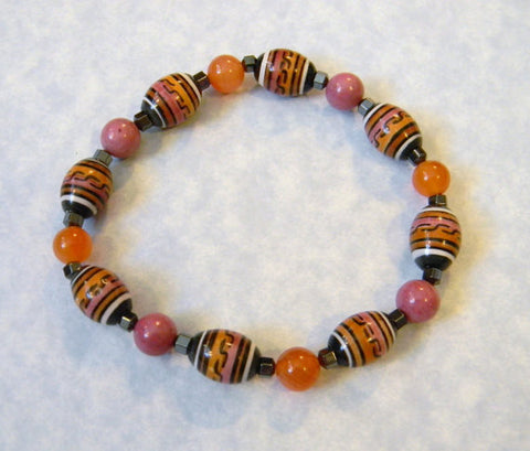 Peruvian Ceramic Barrel Bead and Gemstone Stretch Bracelet in Pink, Peach, Black and White