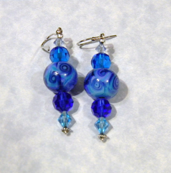 Art Glass Lampwork Bead and Crystal Earrings in Shades of Blue